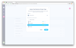 Add a task bundle to one or several project types