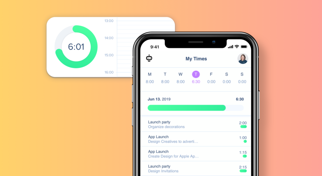 Work time tracking via app with awork's new app