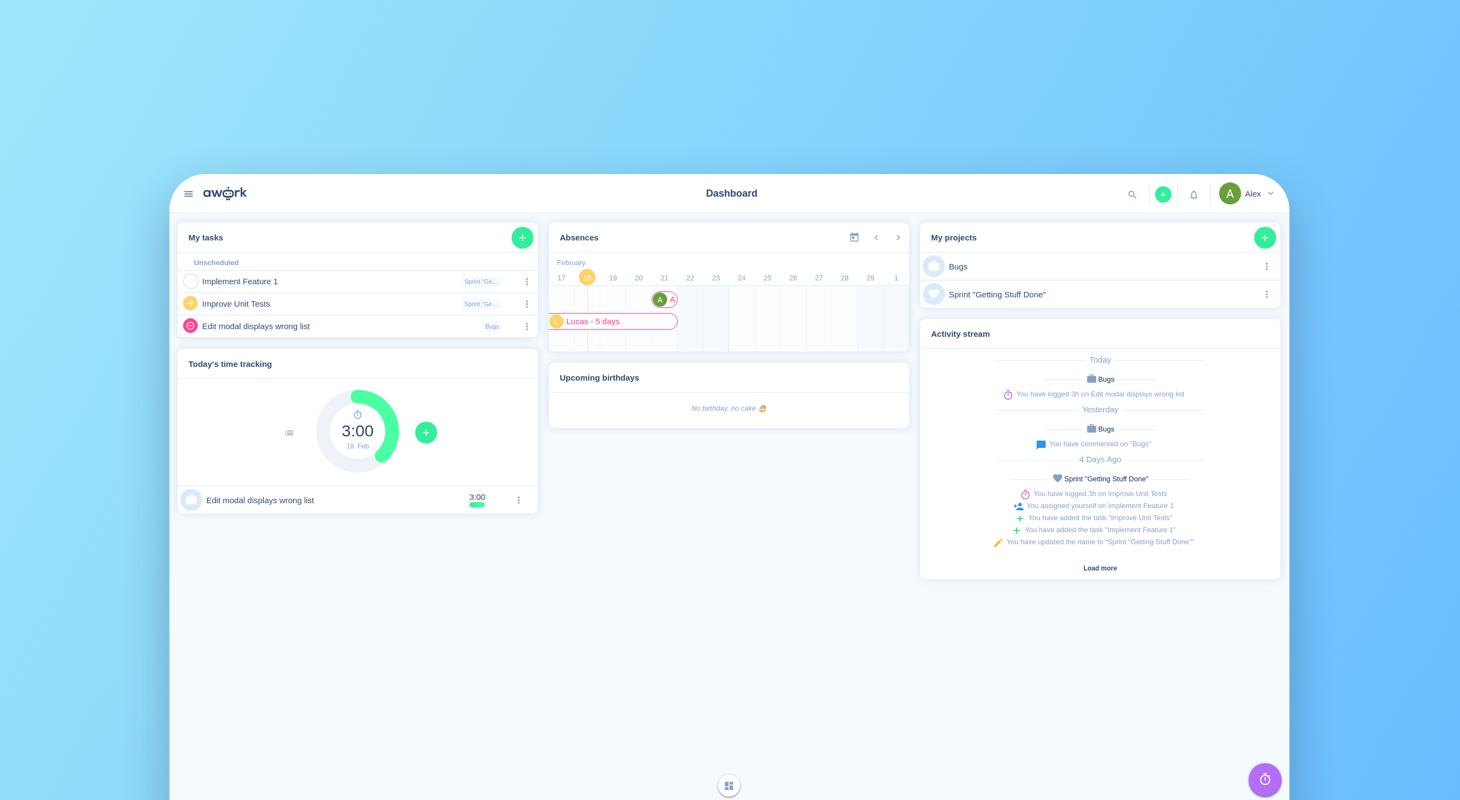 Das Dashboard von unserem Entwickler Alex