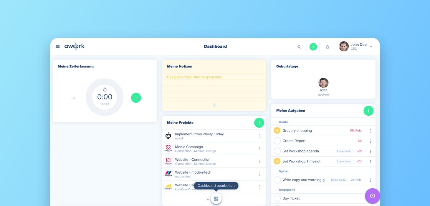 Customize your awork dashboard